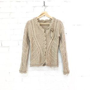 Retro Wool Cashmere Fitted Cardigan Flower Crochet